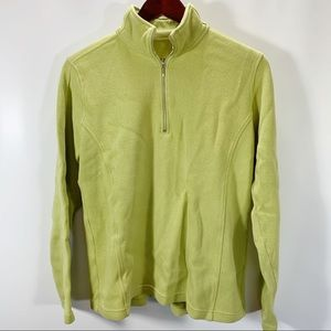Orvis 1/2 Zip Pullover Knit Top Green 100% Cotton